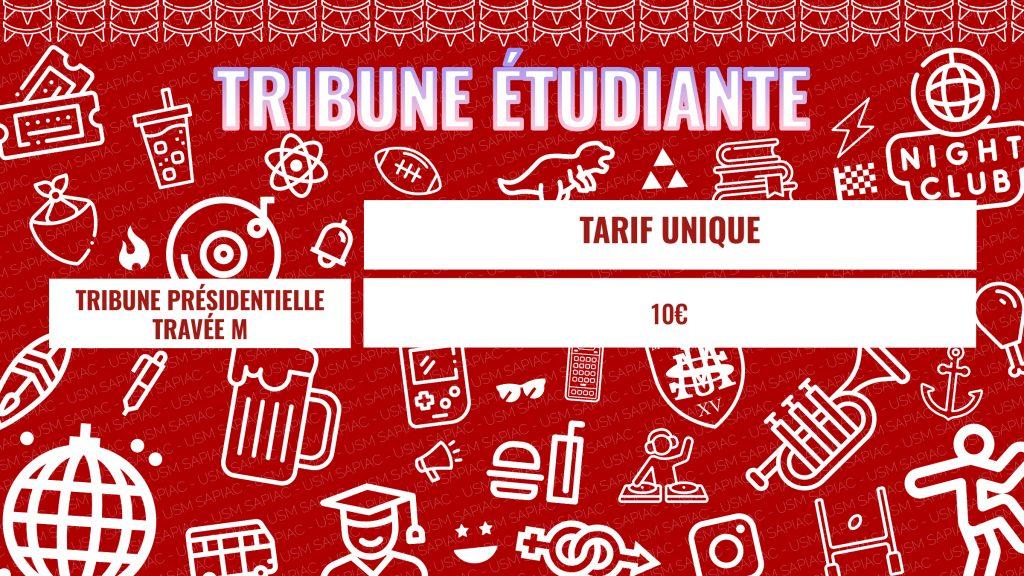 Tribune étudiante disponible jour de match et sur le web